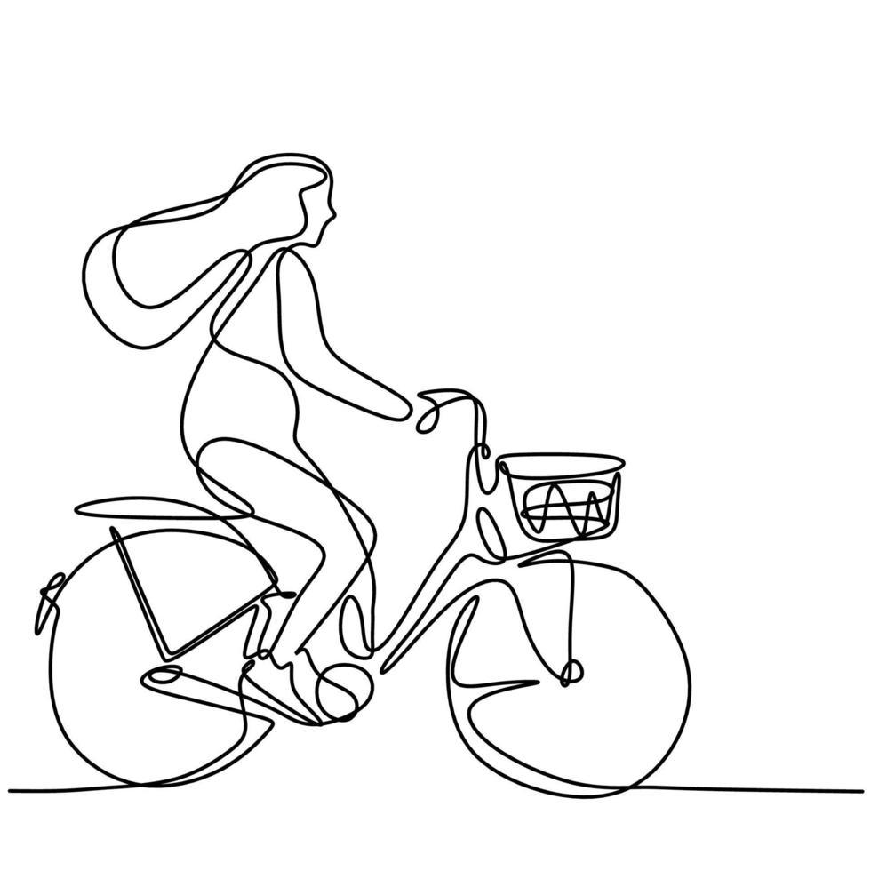 desenho de linha de uma jovem feliz de bicicleta. enérgica mulher bonita andando de bicicleta pela manhã para ir para a escola. atividade diária. conceito de volta às aulas isolado no fundo branco vetor
