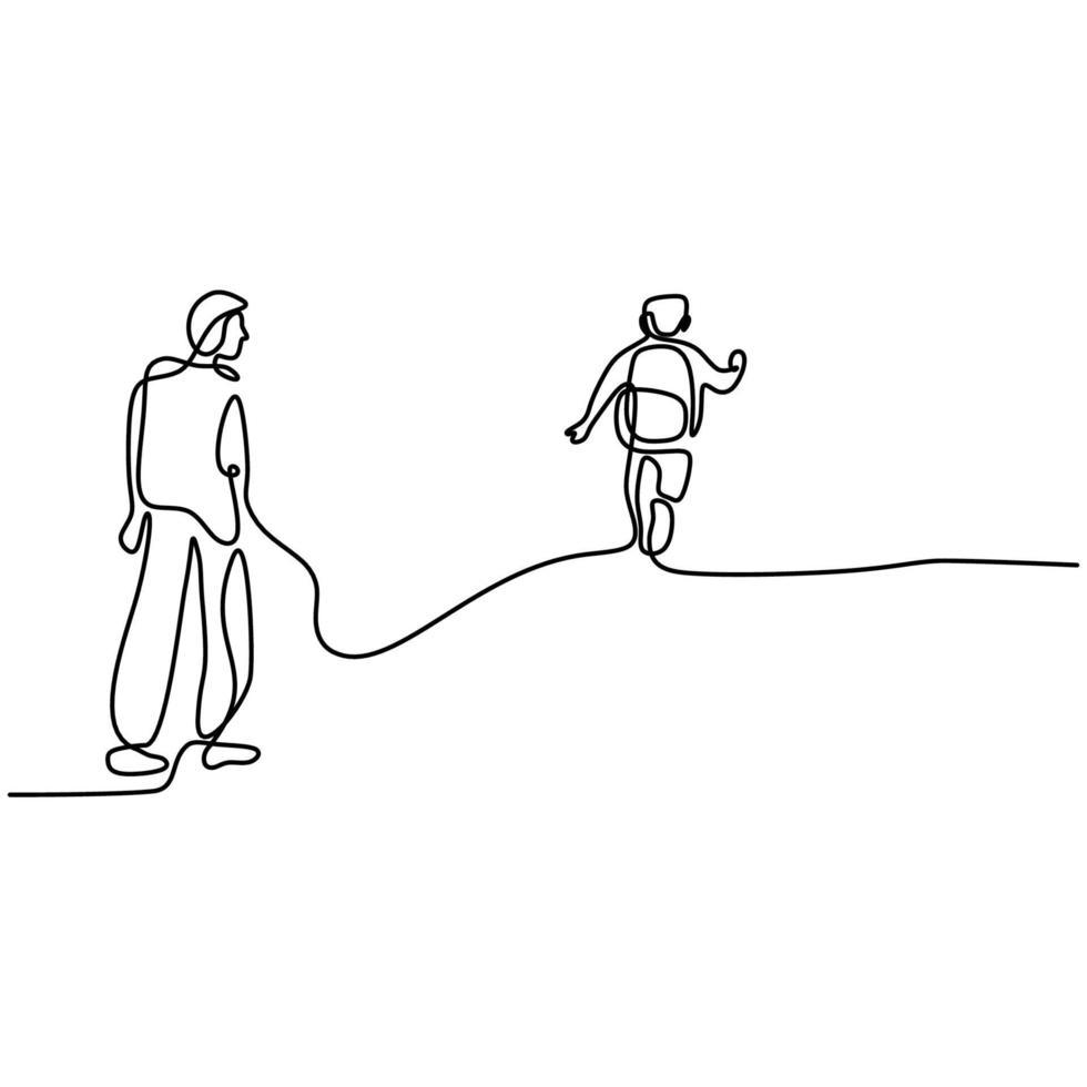 um desenho de linha contínua de um jovem pai leva seu filho para ir à escola. menino feliz andando com seu pai para a escola. amar os pais conceito de família isolado no fundo branco. vetor