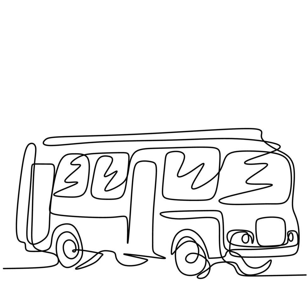 um desenho de linha de ônibus na cidade. um transporte público urbano isolado no fundo branco. transporte de passageiros conceito contínuo de esboço desenhado a mão única, estilo minimalismo vetor