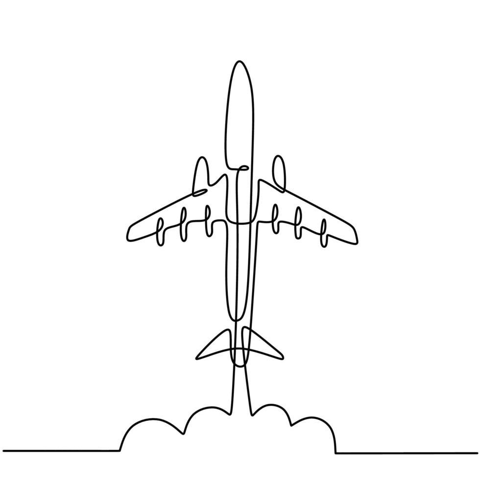 uma linha desenhando um plano. o vôo do avião de passageiros no céu isolado no fundo branco. negócios e turismo, conceito de viagens de avião. ilustração vetorial de aeronaves em design minimalista vetor