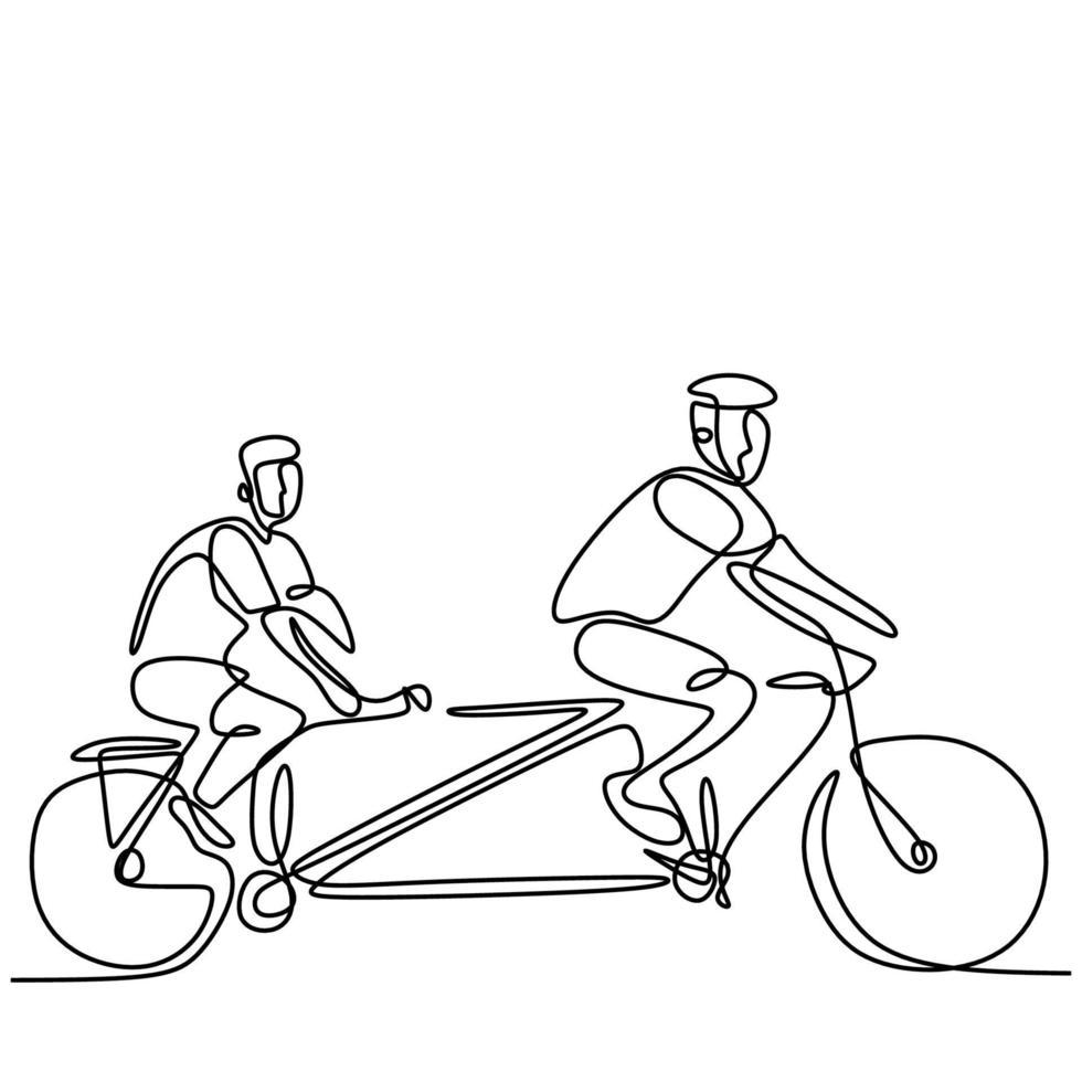 desenho de linha contínua de dois jovens andando de bicicleta estilo minimalismo de arte linha desenhada à mão em fundo branco. homem enérgico usando capacete e anda de bicicleta. conceito de estilo de vida saudável vetor
