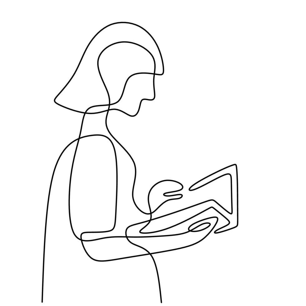 contínuo um desenho de linha de um livro de leitura de menina. mulher bonita foco na página do livro para estudar na silhueta de imagens desenhadas à mão da biblioteca em estilo minimalista. Estude para o exame. ilustração vetorial vetor