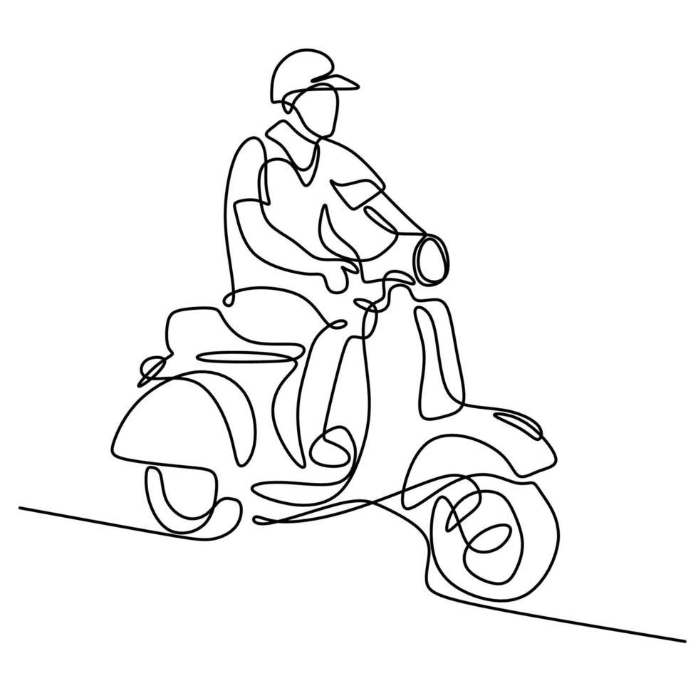 arte de linha contínua ou desenho de linha de jovem pilotando uma motocicleta Vespa. um matic de scooter clássico de bicicletas masculinas isolado no fundo branco. conceito de moto vintage. ilustração vetorial vetor