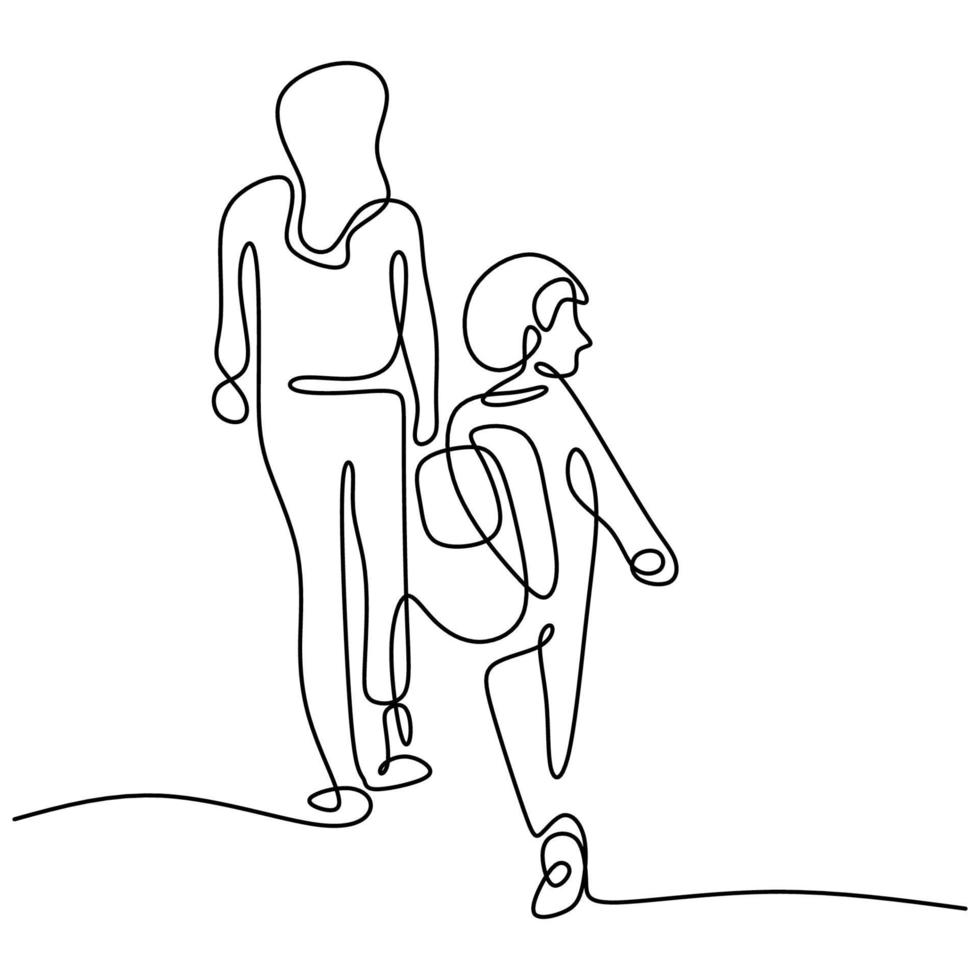 um desenho de linha contínua de uma jovem mãe leva seu filho para ir à escola. menino feliz andando com sua mãe para a escola. amar os pais conceito de família isolado no fundo branco. vetor
