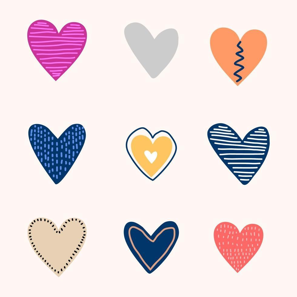 conjunto de coração de amor engraçado dos desenhos animados. cenário colorido feminino com corações, estrelas desenhando no estilo de desenho. conceito de dia dos namorados. papel de parede romântico para meninas, têxteis, roupas, papel de embrulho vetor