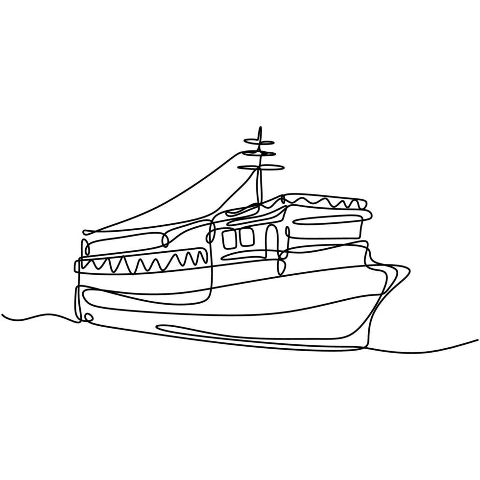 uma linha contínua desenhada à mão de um grande navio de cruzeiro no mar. navio de cruzeiro real de passageiros sobre a marinha. viagem no oceano férias conceito projeto esboço esboço desenho ilustração vetorial vetor