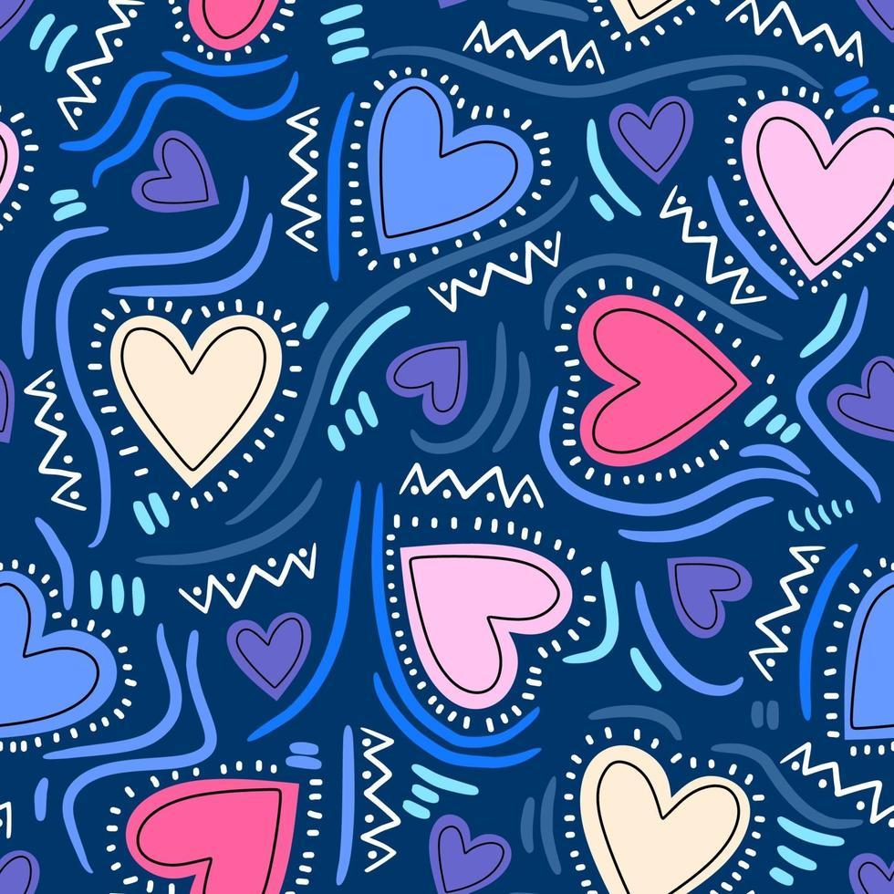 padrão infantil sem costura com coração moderno. estilo escandinavo criativo isolado sobre fundo azul. Vector colorido amor para o dia dos namorados ou outra ilustração de projetos românticos de amor