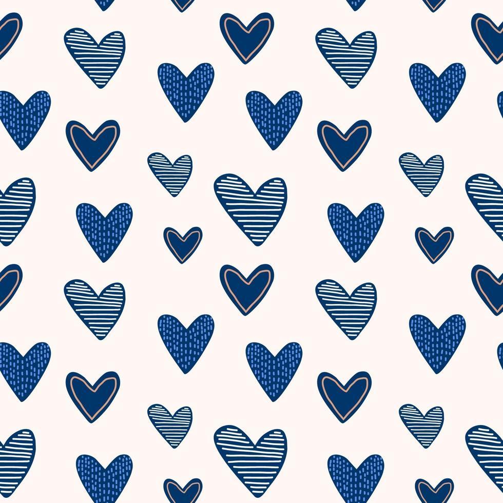 conjunto de elementos bonitos do dia dos namorados. corações de desenho animado azul repetido mão desenhada no fundo branco. impressão infantil para cartões, adesivos, roupas e convites para festas. ilustração vetorial vetor