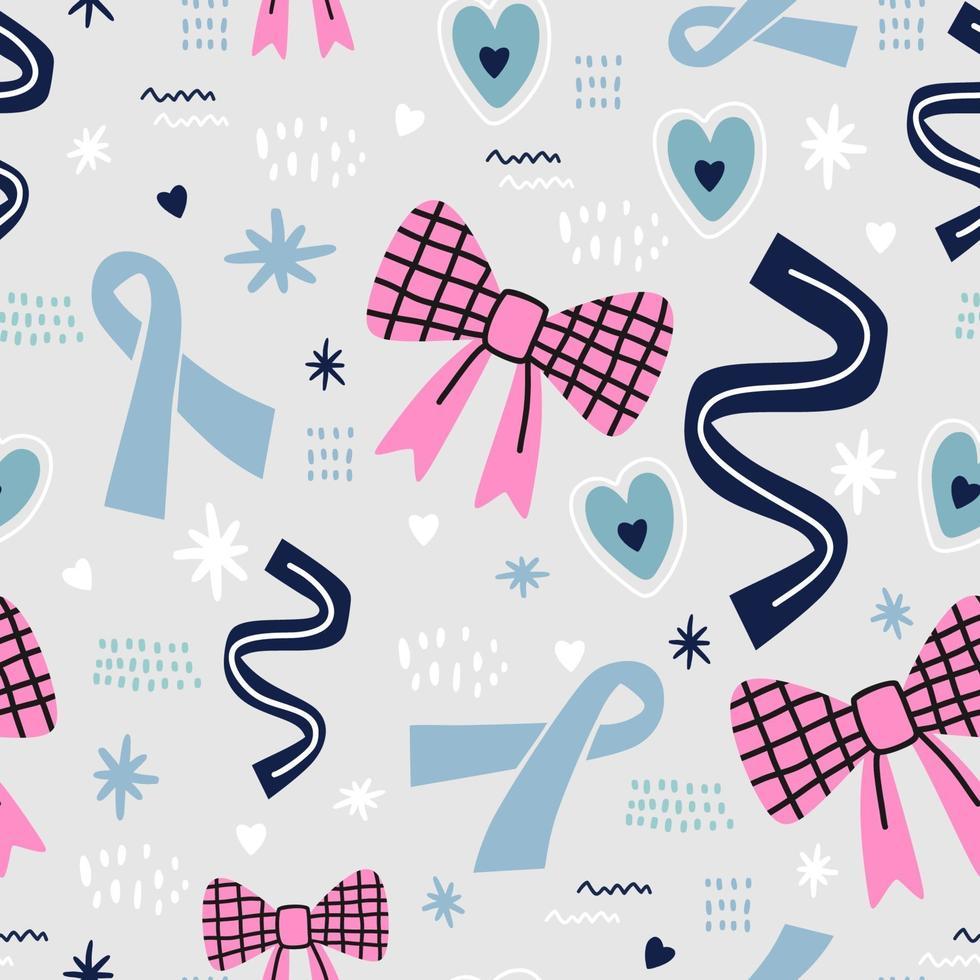 mês de conscientização da mama. câncer de fita colorida bonito com arco infantil, flores e amor isolado no fundo cinza. desenho vetorial para moda, tecido, papel de parede, cartão e todas as estampas. vetor