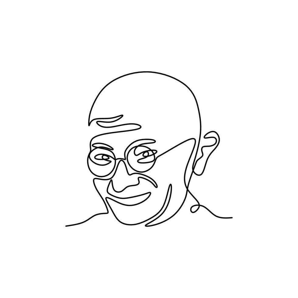 desenho de linha contínua de mahatma gandhi. o líder do movimento de independência indiana na Índia governada pela Grã-Bretanha. um homem que empregou resistência não violenta. figuras indígenas. ilustração vetorial vetor