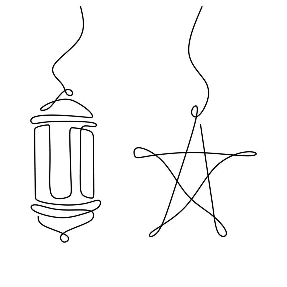 um projeto de desenho de linha contínua para o ramadã com estrelas penduradas e lanterna. cartão Ramadan Kareem com conceito de decoração islâmica. ilustração vetorial estilo minimalismo em fundo branco vetor