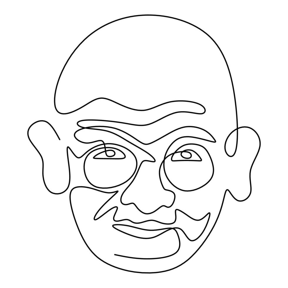 mahatma gandhi, a figura indiana, desenho de uma linha contínua. gandhi é um homem que liderou o movimento de independência da Índia do domínio britânico, que empregou a resistência não violenta. ilustração vetorial vetor