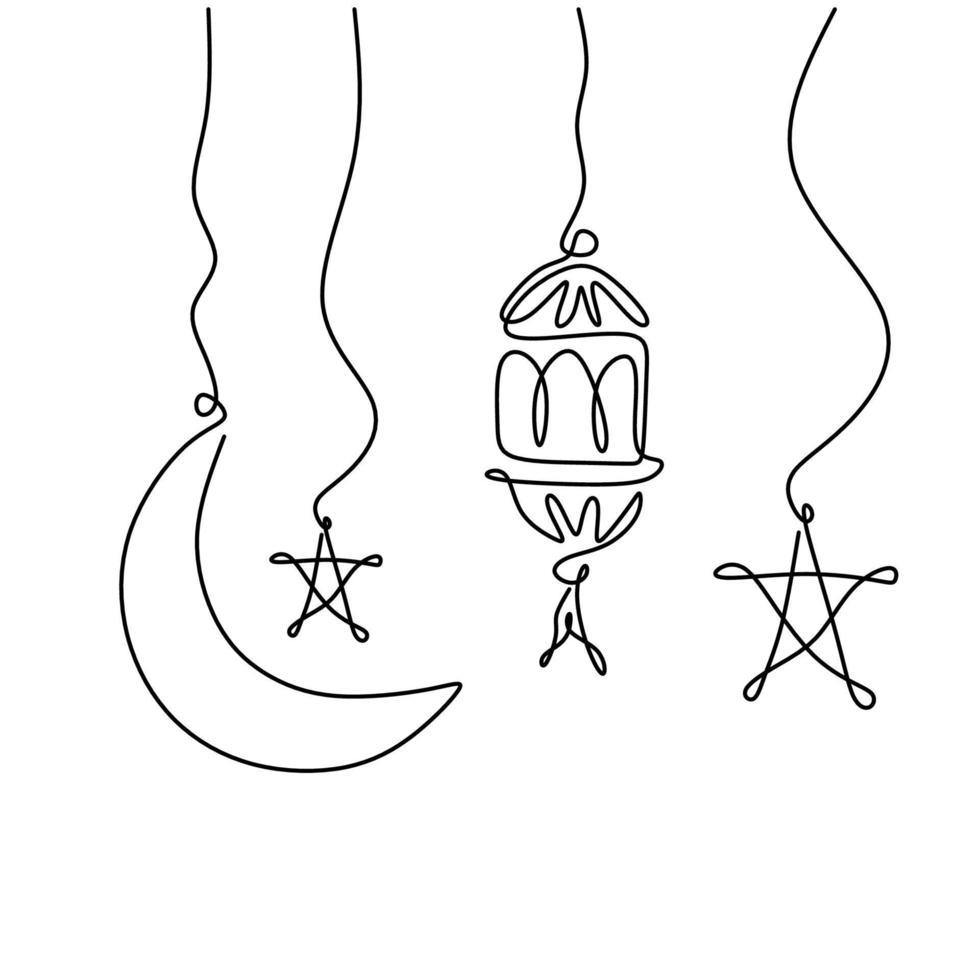 lanterna, meia lua e estrela. tema ramadan kareem mínimo de um desenho de linha contínua no fundo branco. arte em linha única de eid mubarak, cartão, pôster e design de banner. ilustração vetorial vetor