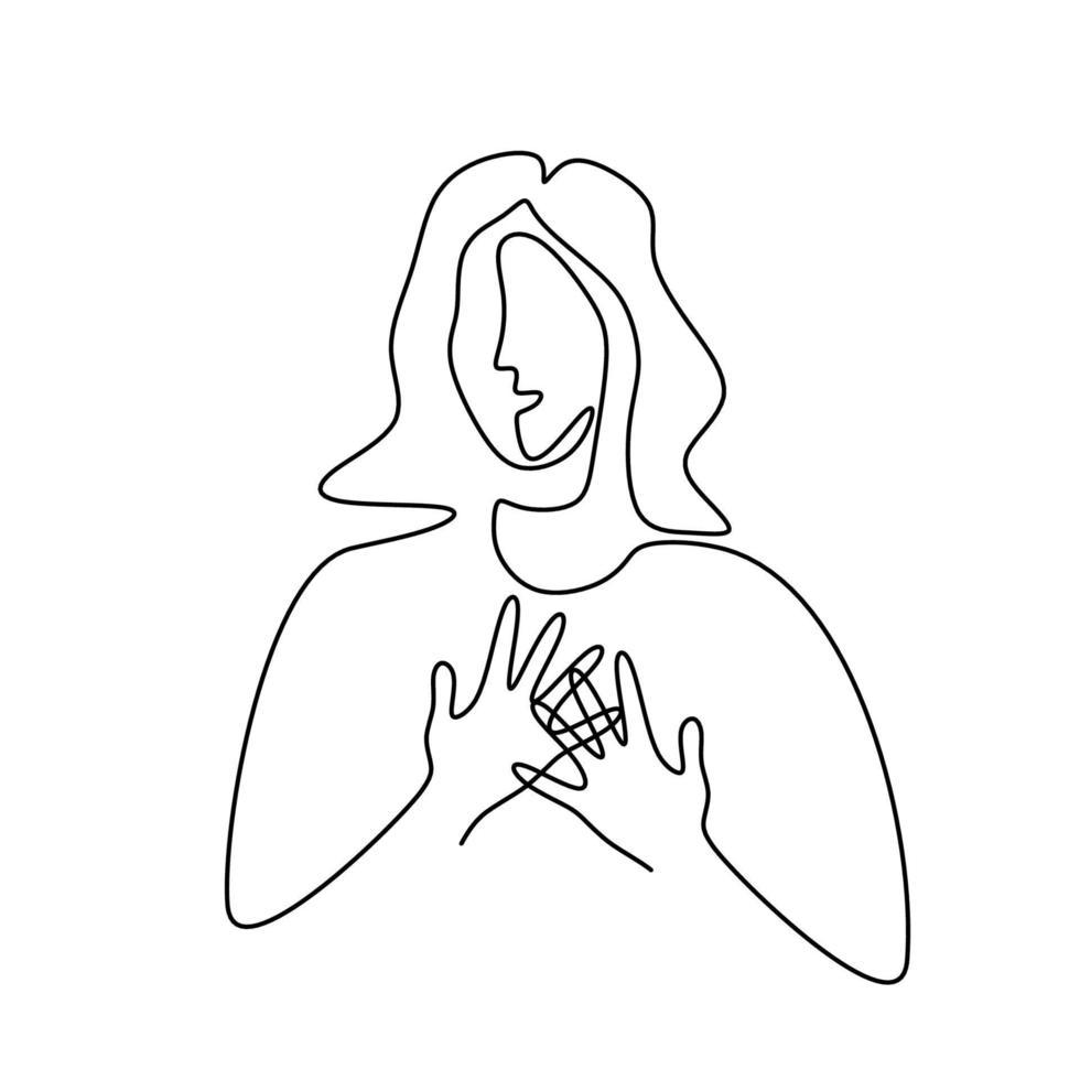 mulher com câncer de mama linha arte mão desenhada. um conceito de desenho de linha, cartaz para o mês nacional de conscientização do câncer de mama. mulher com as mãos no peito para o conceito de conscientização do câncer de mama vetor
