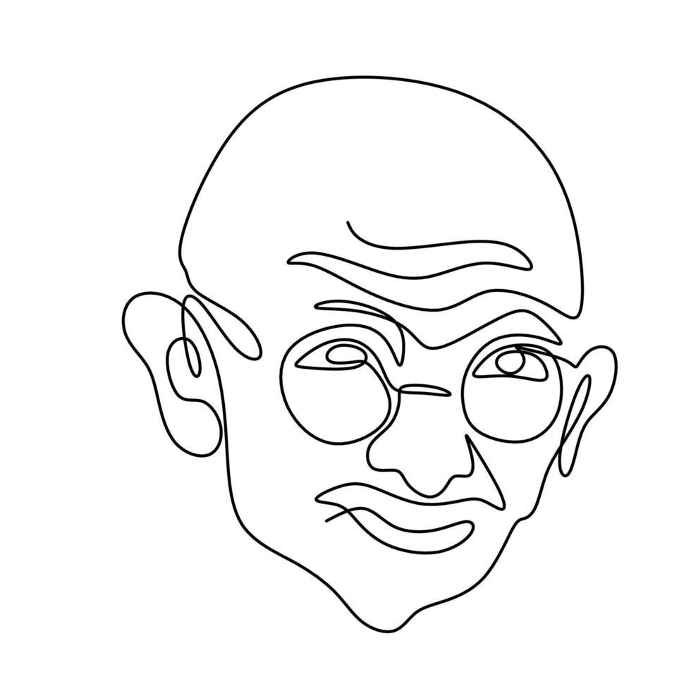 um desenho de linha contínua de mahatma gandhi. uma figura indiana que foi o líder da independência indiana, isolada no fundo branco. dia da república da índia, 26 de janeiro. ilustração vetorial vetor