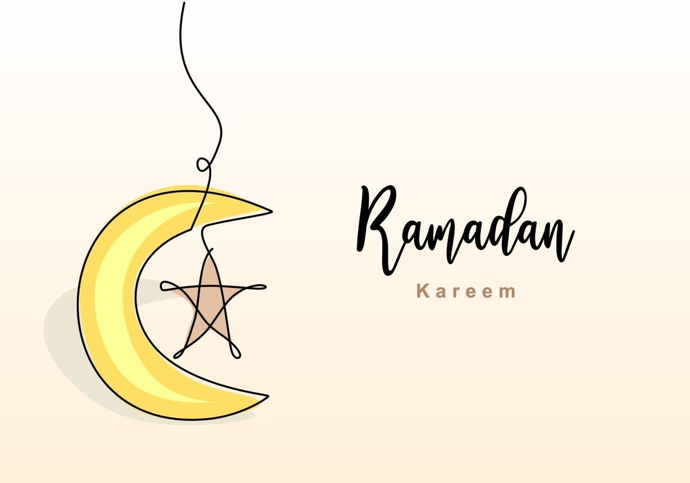 desenho de linha contínua de decoração islâmica com estrela e lua e letras. feriado tradicional muçulmano. mão desenhada linha arte do conceito de cartão ramadan kareem. ilustração vetorial vetor