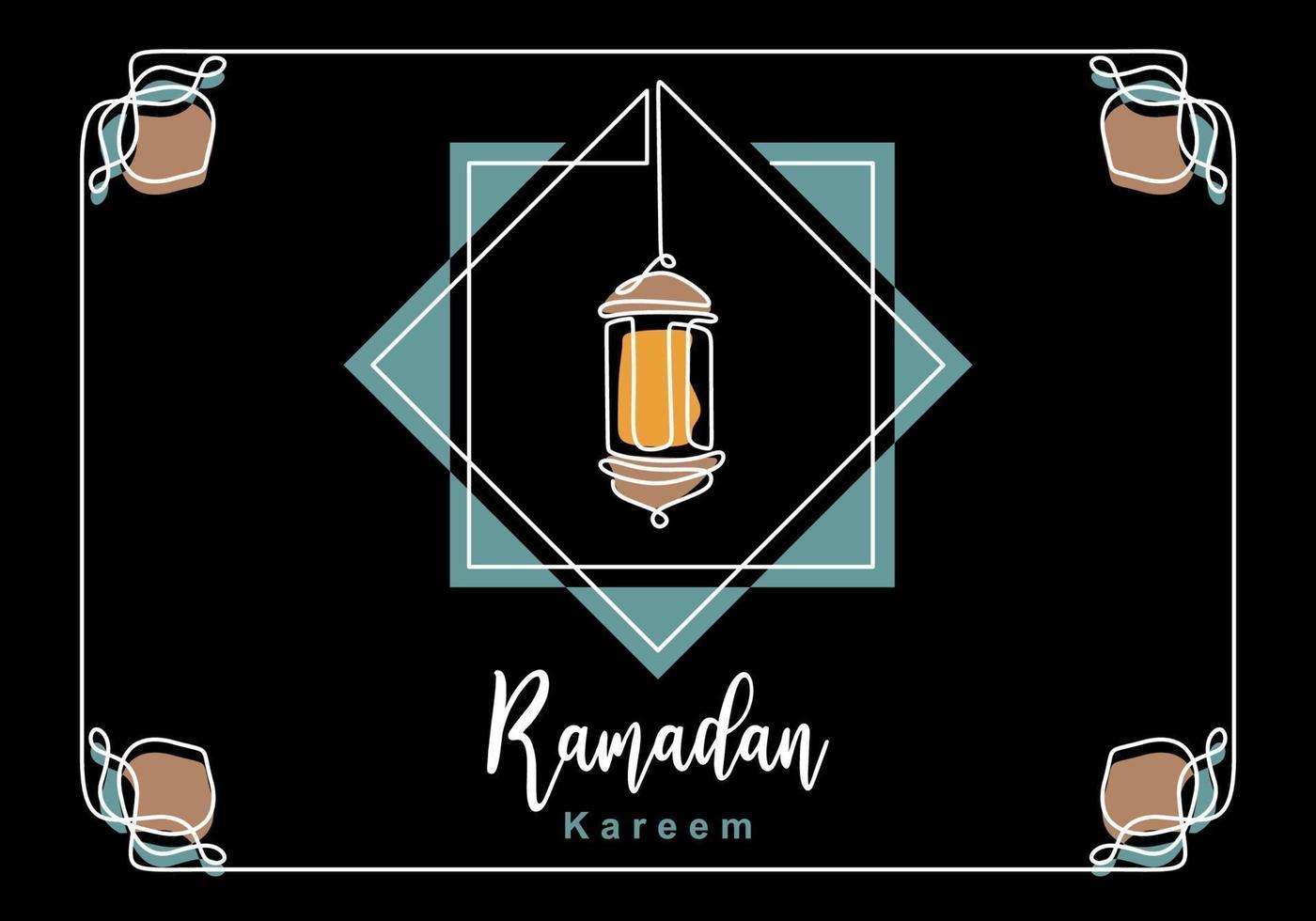 eid mubarak cartão clássico de luxo com lanterna tradicional isolada no fundo preto. mão desenhando um projeto de linha contínua de ramadan kareem. celebração do povo muçulmano. vetor