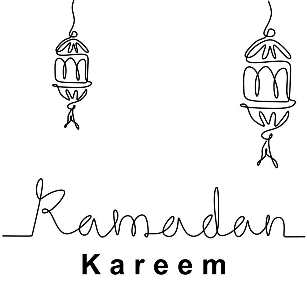 um único desenho de linha pendurado ornamento de lâmpadas de lanterna islâmica tradicional. letras manuscritas ramadan kareem isoladas no fundo branco. Tema eid mubarak. ilustração vetorial vetor