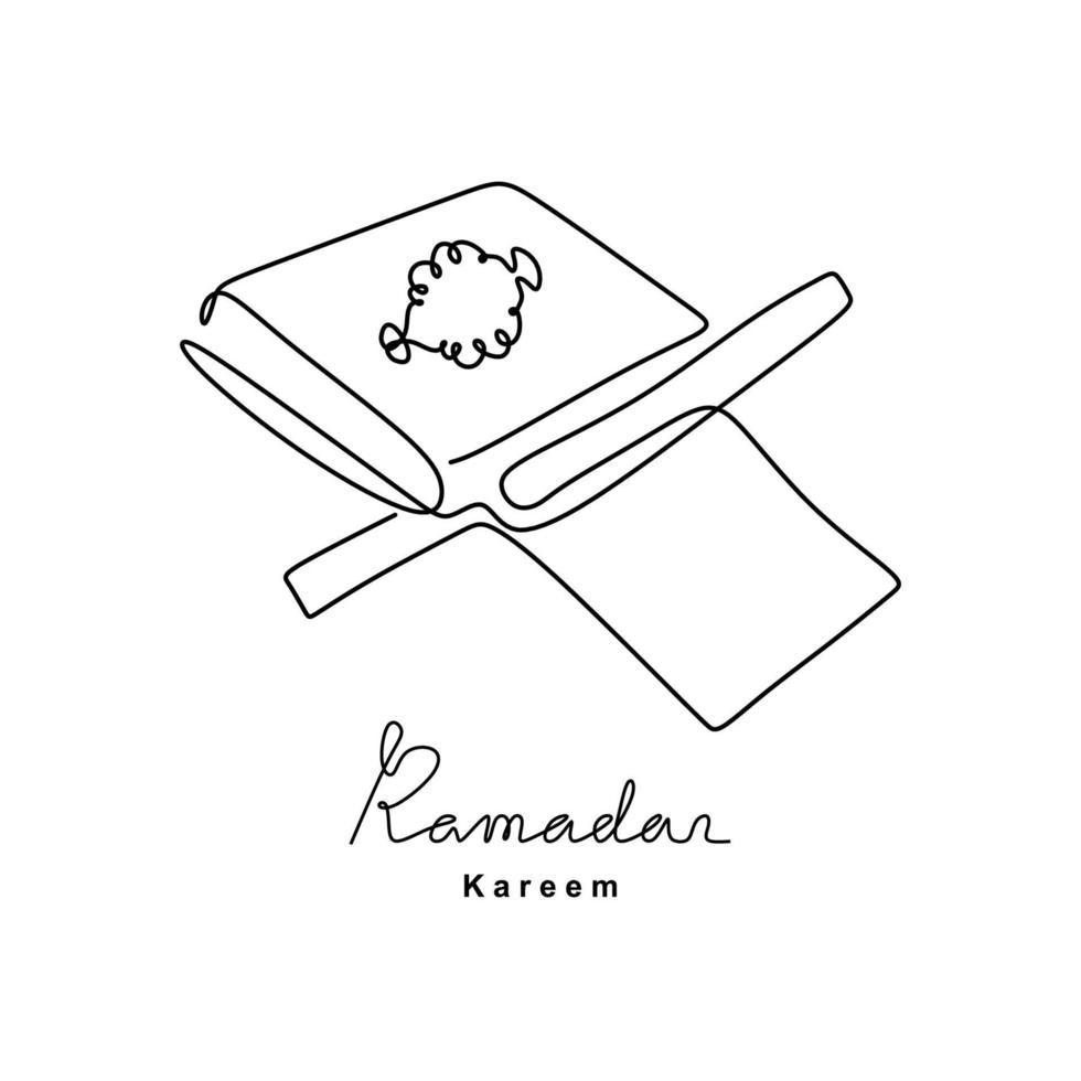 desenho de linha contínua do Alcorão de livro aberto em uma estante de madeira. islâmico dia sagrado ramadan kareem e conceito de eid mubarak isolado no fundo branco. estilo de minimalismo desenhado à mão. vetor