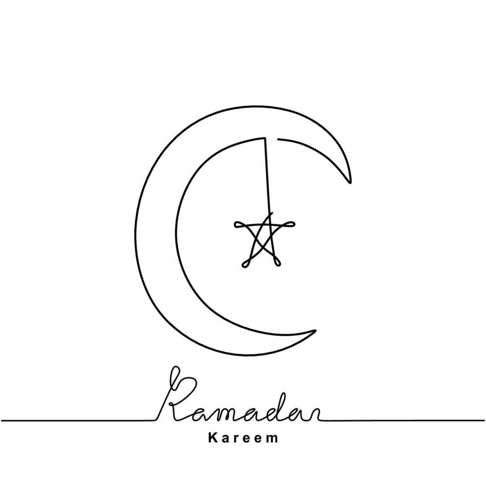 desenho de linha contínua de lua crescente e estrela para ramadan kareem. feliz eid mubarak. tema de celebração do festival islâmico isolado no fundo branco. ilustração vetorial estilo minimalista vetor