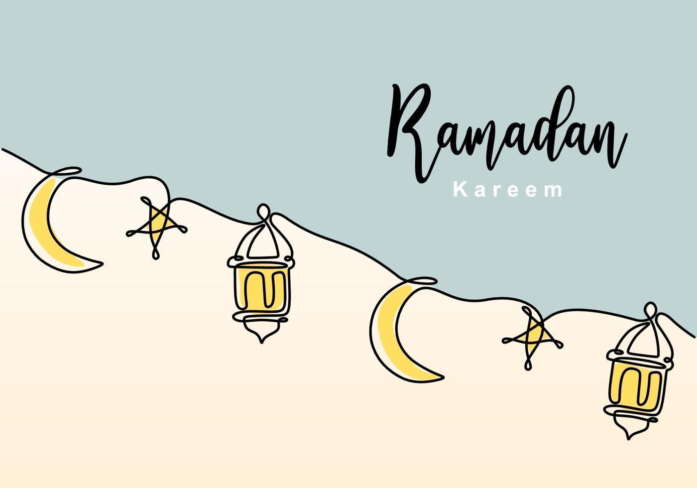desenho de linha contínua de decoração islâmica com lanterna, estrela e lua e letras. feriado tradicional muçulmano. mão desenhada linha arte do conceito de cartão ramadan kareem. ilustração vetorial vetor