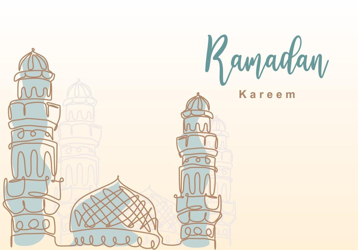 ramadan kareem uma linha contínua com mesquita islâmica, cúpula de mesquita e ornamento de torre de mesquita. conceito de cartão eid al fitr mubarak e ramadan kareem design desenhado à mão estilo minimalista vetor