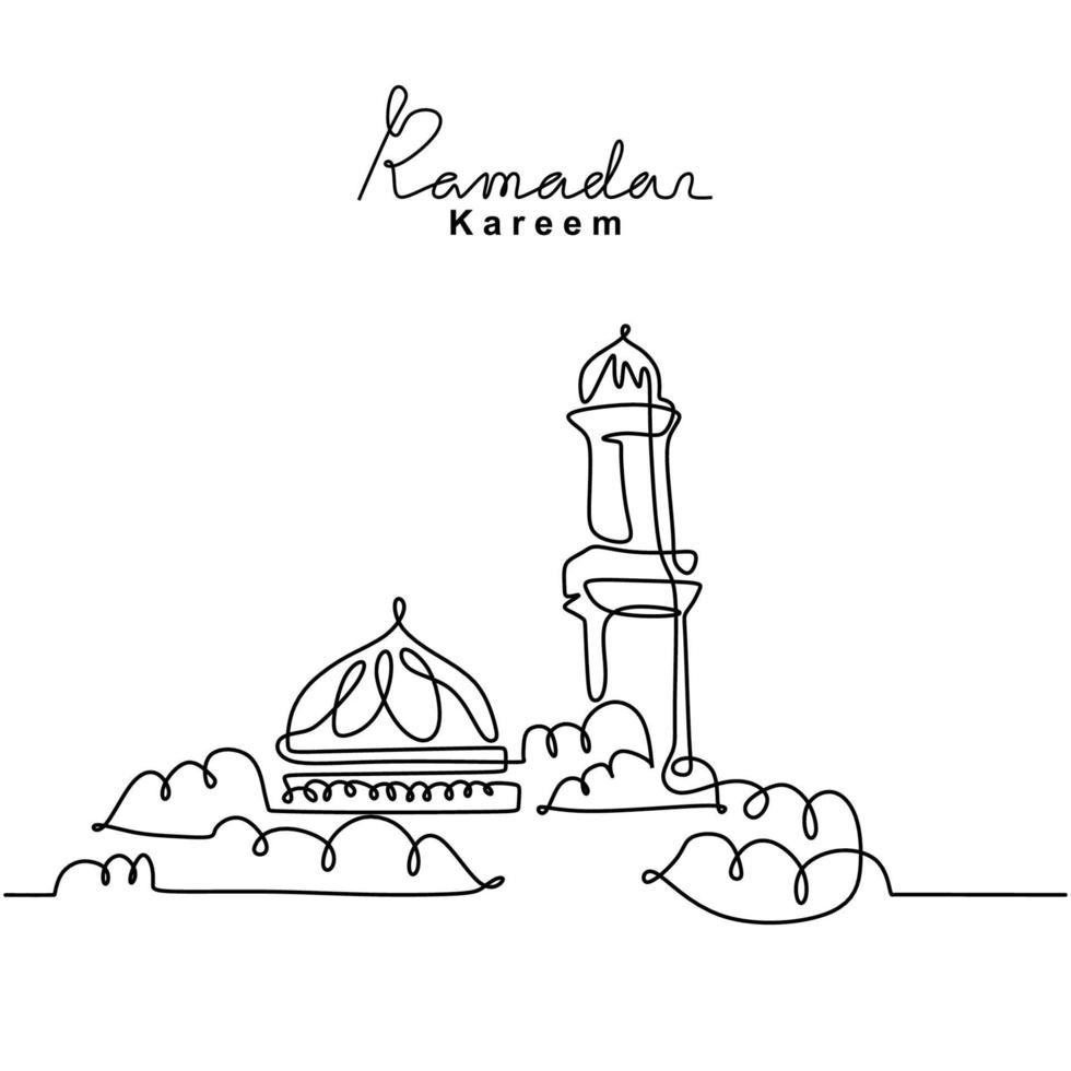 um desenho de linha contínua da mesquita islâmica, letras manuscritas do ramadan kareem. feliz eid mubarak, eid fitr. religião muçulmana feriado celebração mão desenhada linha arte estilo minimalismo vetor