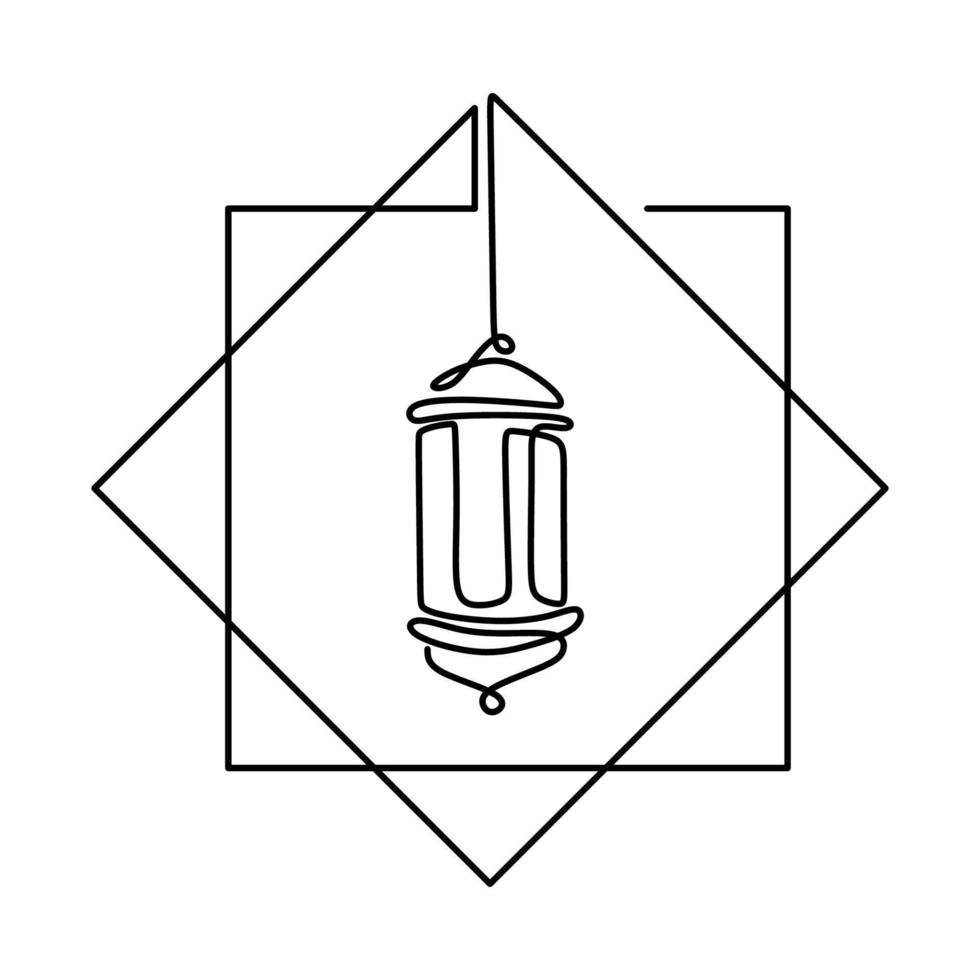 antigo desenho de linha contínua lanterna tradicional vintage pendurado isolado no fundo branco. símbolo de ornamento islâmico. feliz eid mubarak, tema ramadan kareem. estilo minimalista desenhado à mão vetor