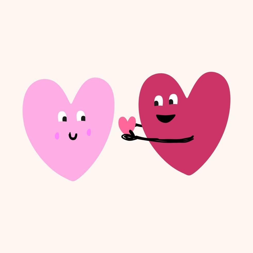 ícone de um coração, símbolo do amor. um casal segurando um coração para dar à namorada. momento romântico. feliz dia dos namorados tema isolado no fundo branco. ilustração em vetor design moderno estilo simples.