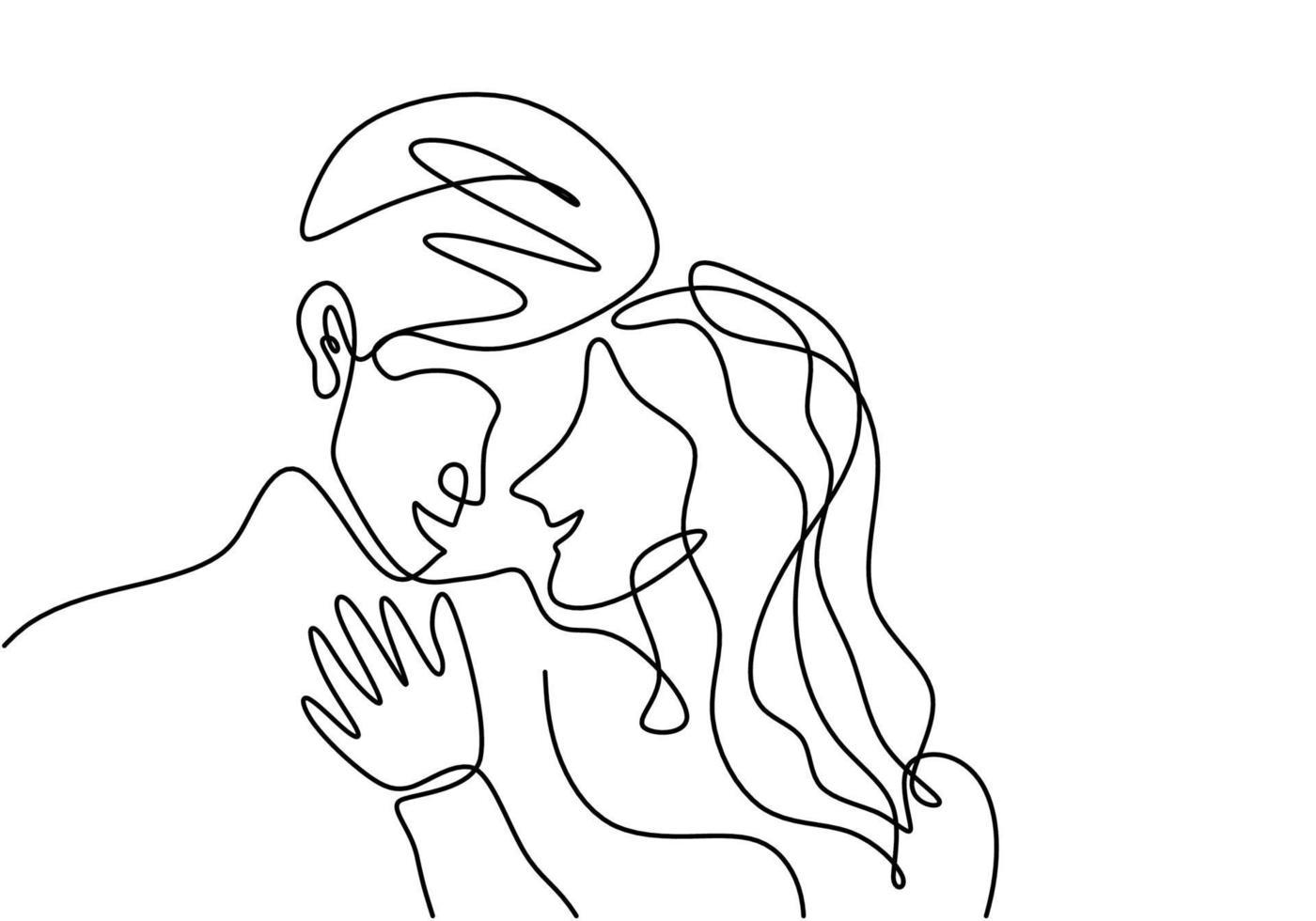 casal apaixonado é conectado por um desenho de linha. símbolo de amor, família e unidade. homem e mulher apaixonada, isolado no fundo branco. estilo de minimalismo de conceito de dia dos namorados. ilustração vetorial vetor