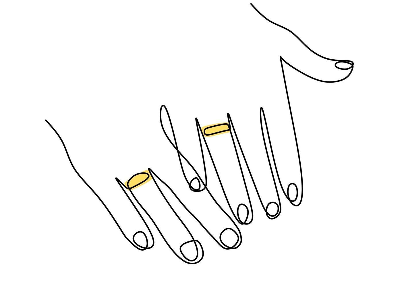 um desenho de linha contínua de mãos masculinas e femininas mostrando anéis de noivado. casal jovem feliz ama o símbolo de casamento. troca de anéis desenhada à mão silhueta de imagens. ilustração vetorial vetor