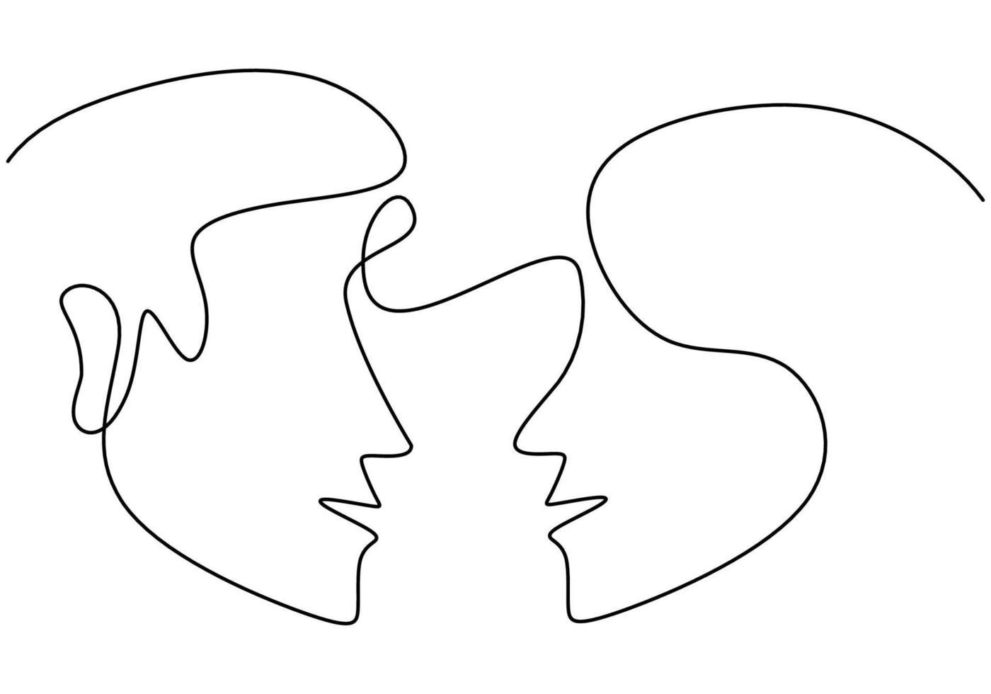 contínuo um desenho de linha de cabeças de homem e mulher em fundo branco. jovem casal romântico em pose cara a cara. feliz Dia dos namorados. estilo minimalista que ama o design gráfico. ilustração vetorial vetor