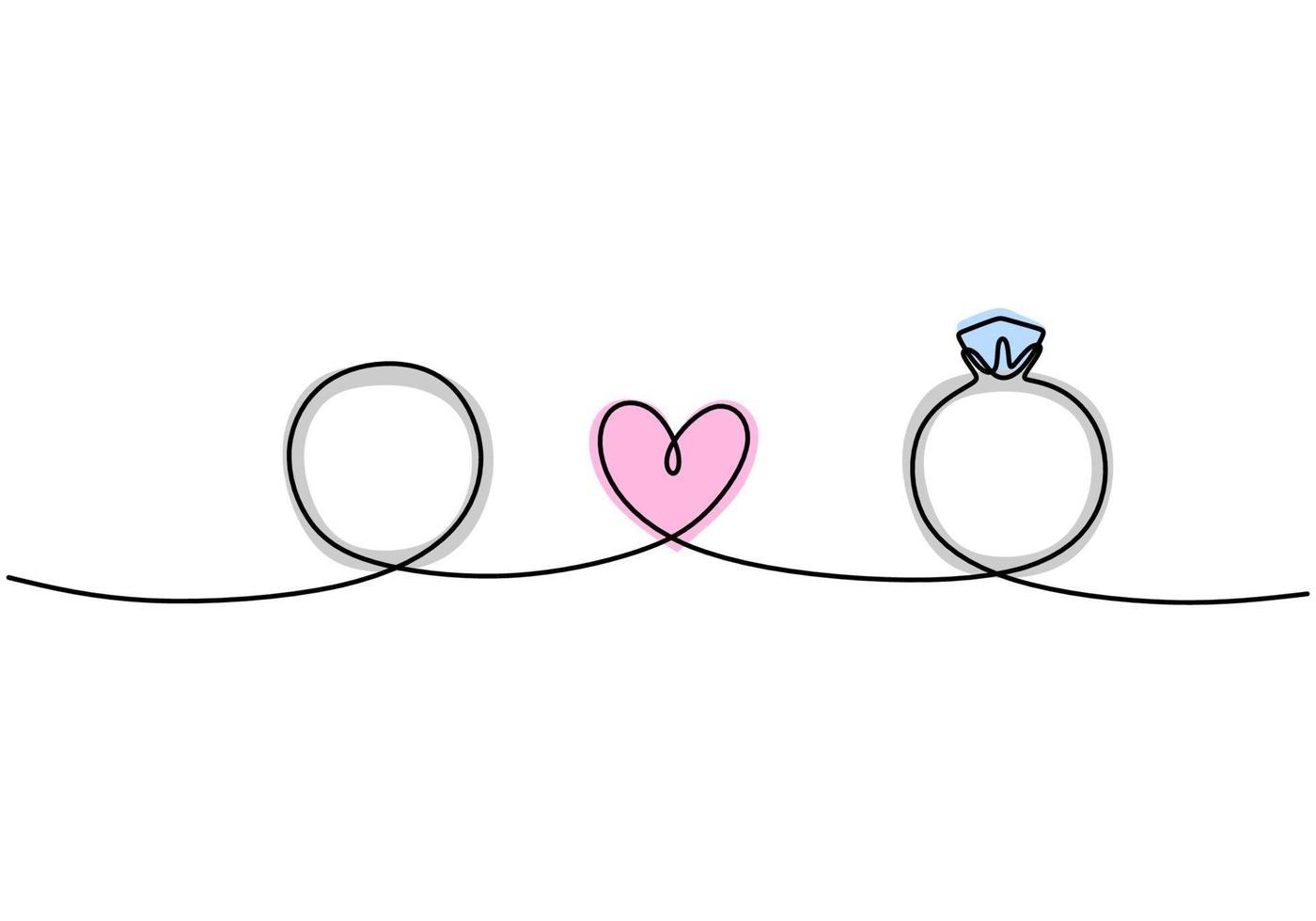 Contínuo um desenho a linha de casal de alianças, um deles com um diamante. Dia dos Namorados. ilustração vetorial. bom para romântico dia dos namorados saudação banner, cartaz e plano de fundo. vetor