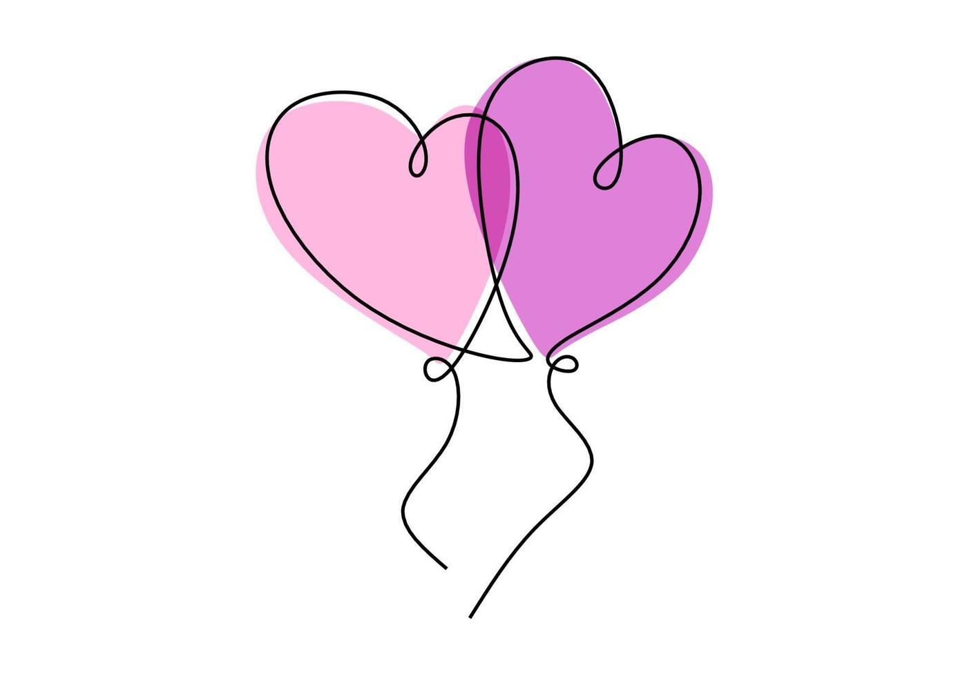 um desenho de linha contínua de dois balões em forma de coração no ar. conceito de cartão de convite de casamento romântico isolado no fundo branco. feliz Dia dos namorados. ilustração vetorial desenhada à mão vetor