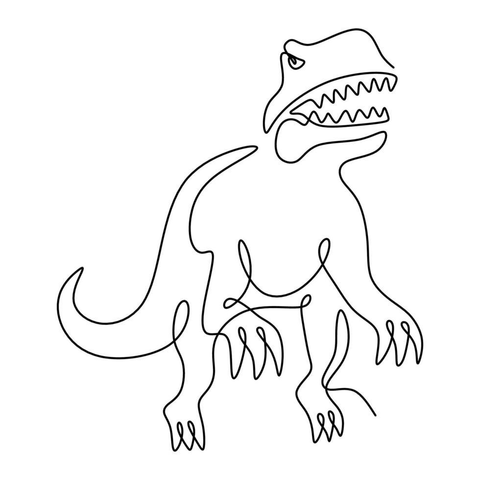 desenho de linha única contínua do tiranossauro rex. animal selvagem isolado no fundo branco. conceito de mascote animal pré-histórico para o ícone do parque de diversões do tema dinossauros. ilustração vetorial vetor