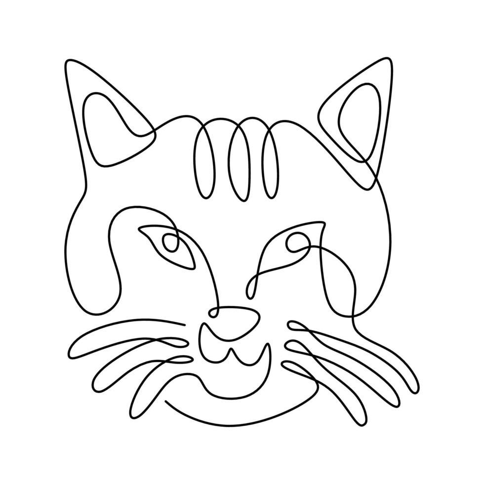 silhueta de desenho de gato de uma linha na mão desenhada estilo minimalismo isolado no fundo branco. cara de gatinho gato com olhos afiados. conceito de animais de estimação. ilustração vetorial vetor
