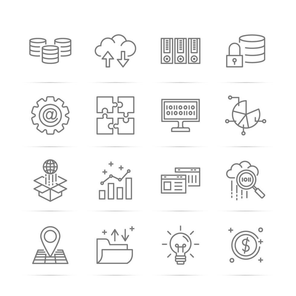 ícones de linha de vetor de big data