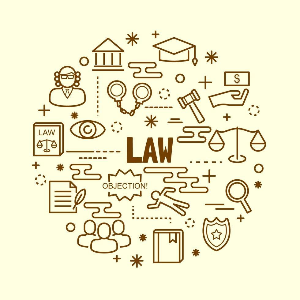 conjunto de ícones de linha fina mínima de lei vetor