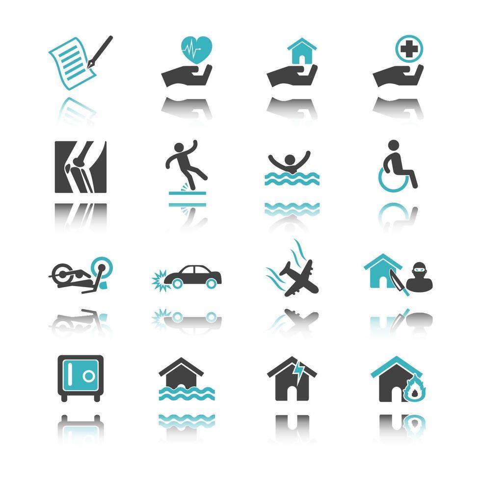 ícones de seguros com reflexão vetor