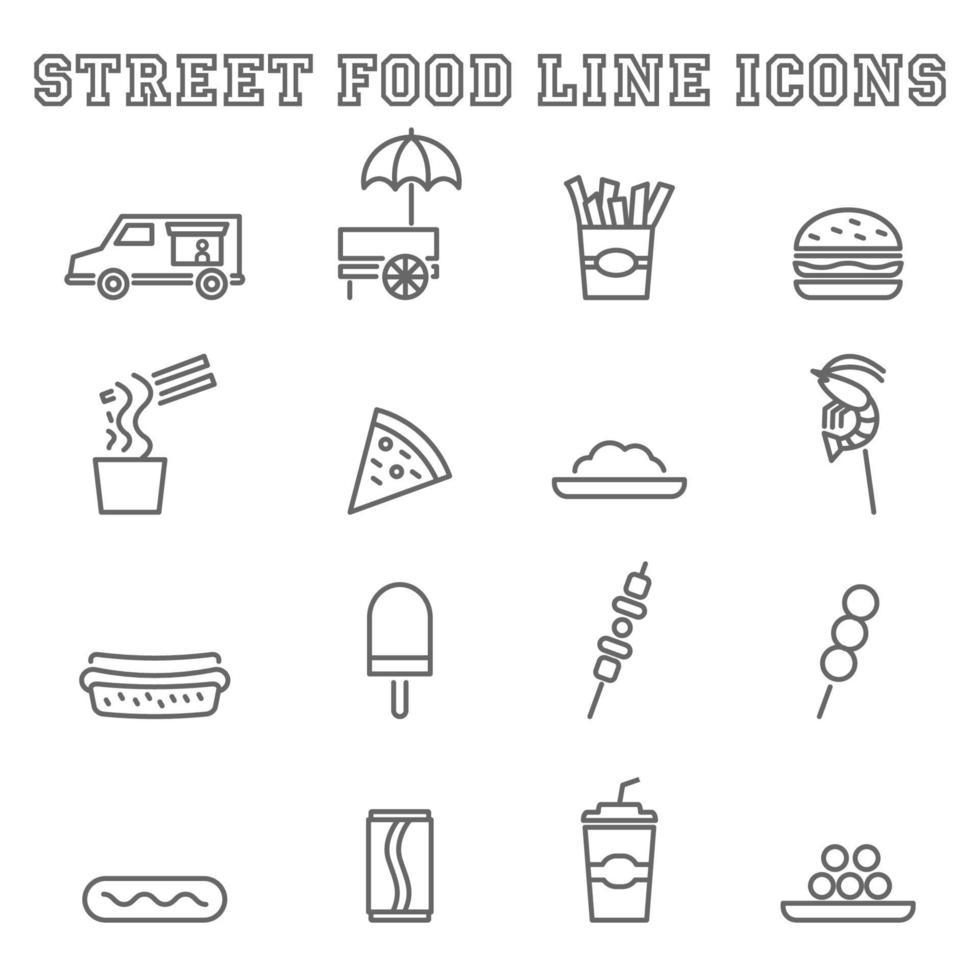 ícones de linha de comida de rua vetor