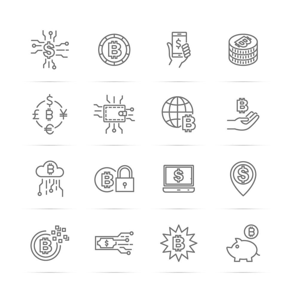 ícones de linha de vetor de dinheiro digital