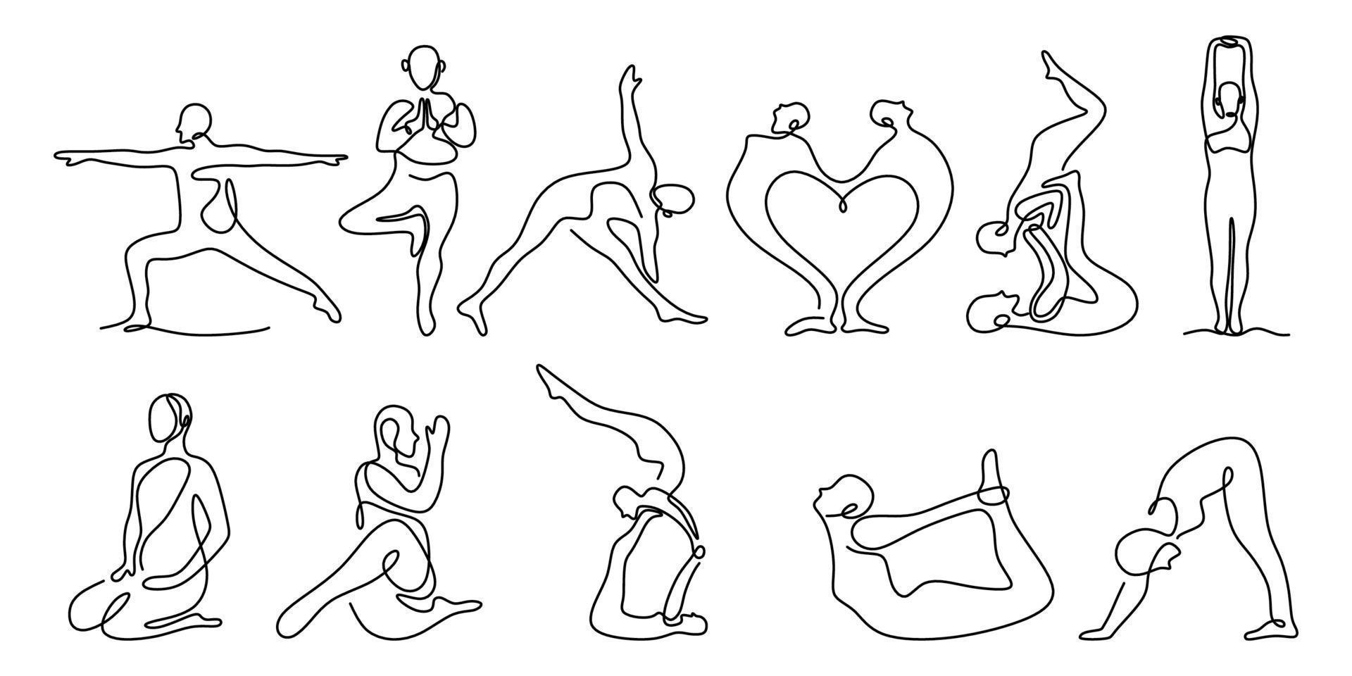 conjunto de ioga, desenho de linha contínua de mulheres ou pose de ioga de aptidão de homem. conceito de estilo de vida saudável. alongamento do corpo e meditação isolado no fundo branco. ilustração vetorial saúde vetor