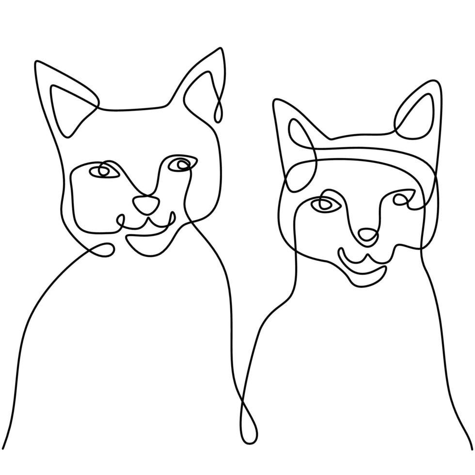 contínuo um desenho de linha de duas caras engraçadas de gato feliz. um casal de gatinhos está sentado, isolado no fundo branco. doodle animais ícones arte de linha minimalista. ilustração vetorial do dia dos namorados vetor