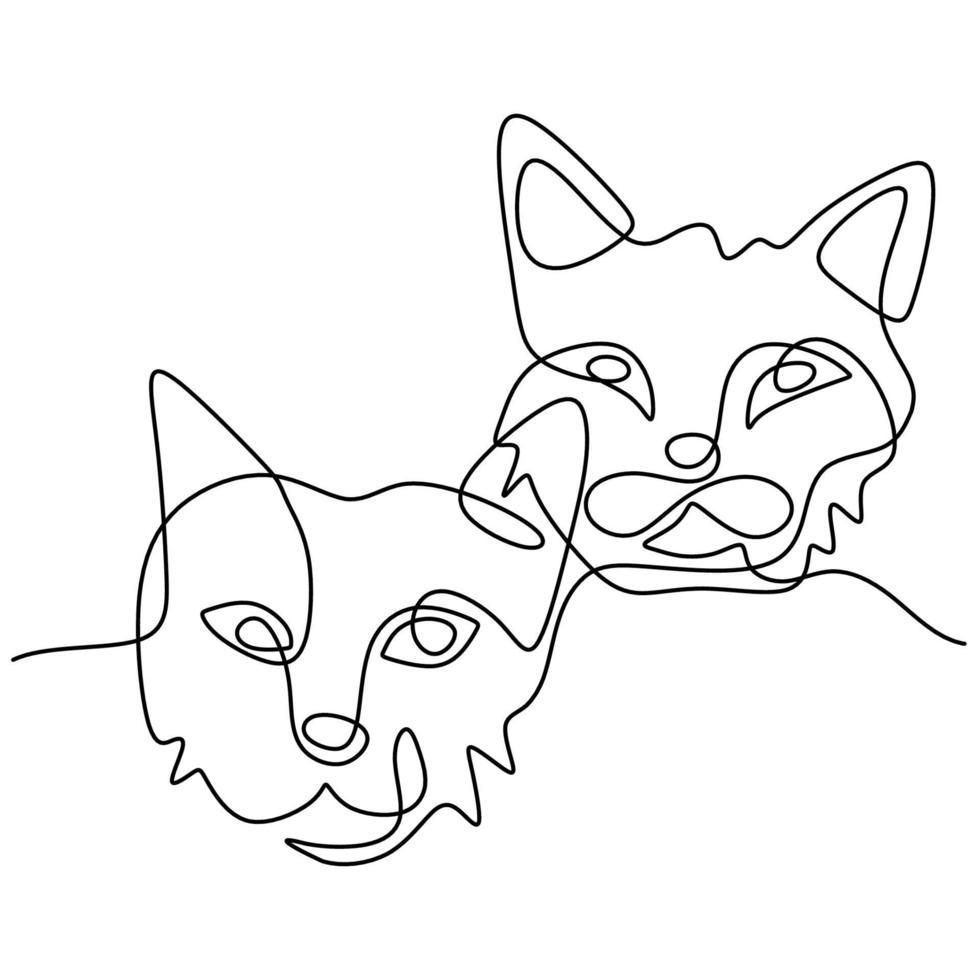desenho de linha contínua de um casal de cara de gato. dois gatinho fofo cabeça arte minimalista isolada no fundo branco. conceito de animais de estimação desenho contorno de mão. ilustração vetorial vetor