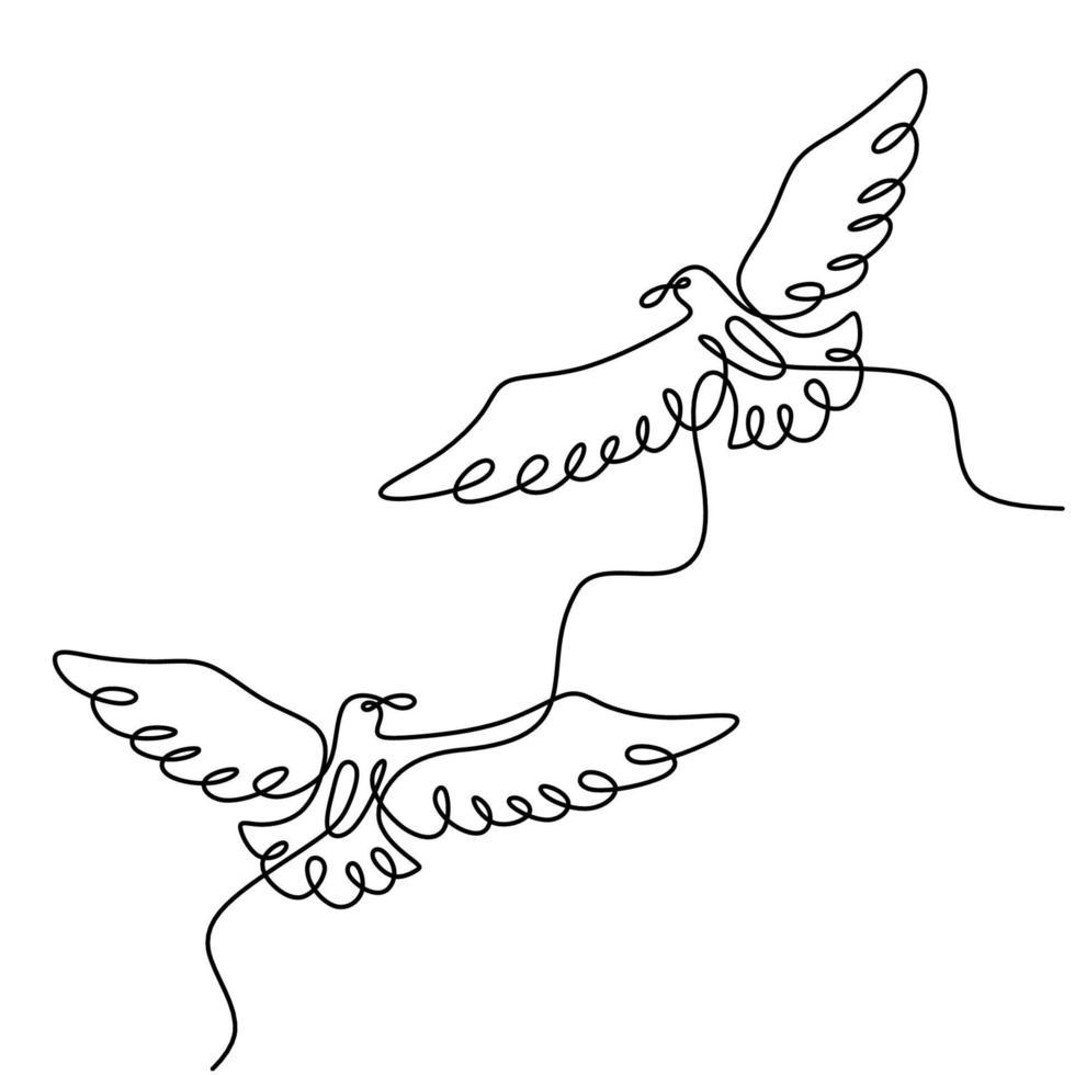 desenho de linha contínua de dois pássaros voando. casal de pássaros apaixonados voam juntos no céu desenhado à mão minimalismo isolado no fundo branco. dia dos namorados, ilustração em vetor design romântico