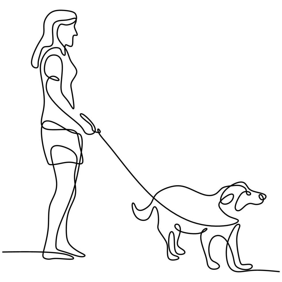 desenho de linha contínua de amante de animal de estimação feliz mulher com cachorro. fêmea jovem gosta de brincar com seu esboço linear de cachorro fofo isolado no fundo branco. amizade sobre o conceito de humano e animal de estimação vetor