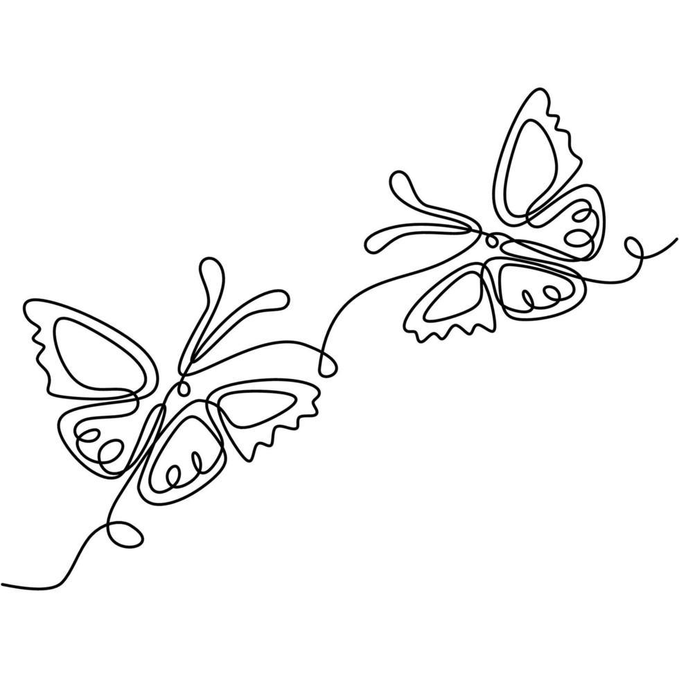 borboleta um desenho de linha contínua. lindo casal de borboletas está voando juntos no ar. tema romântico isolado no fundo branco. símbolo de amor e dia dos namorados. estilo minimalista de vetor
