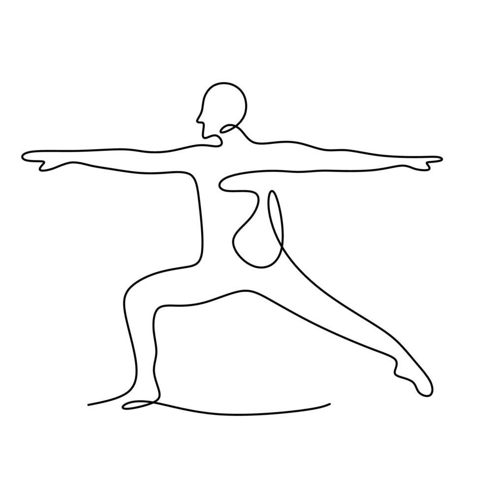 mulher fazendo pose de ioga. Contínuo um desenho de linha de prática de menina enérgica virabhadrasana yoga exercício pose. personagem feminina em pose de guerreiro isolada no fundo branco. ilustração vetorial vetor
