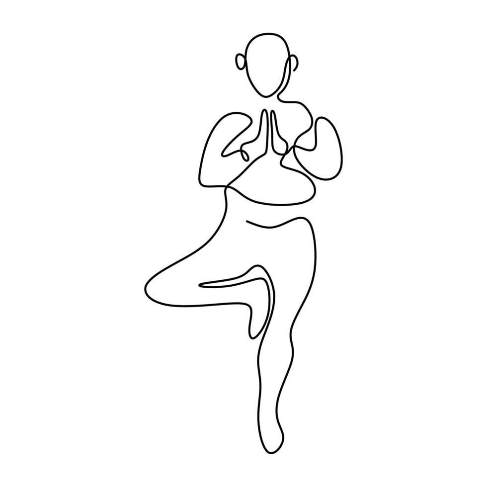 arte de linha contínua ou um desenho de linha de uma mulher fazendo pose de árvore de ioga isolada o fundo branco. em pé sobre uma perna. conceito de estilo de vida saudável. dia internacional do ioga. ilustração vetorial vetor