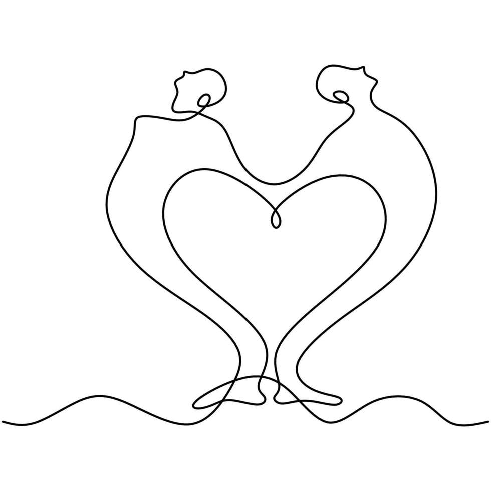 um desenho de linha contínua de casal fazendo pose de ioga. um homem e uma mulher ficam de costas um para o outro e se alongam segurando as mãos um do outro. conceito de pose de respiração de parceiro de ioga. ilustração vetorial vetor
